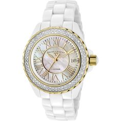 Swiss Legend Karamica Diamond Mother of Pearl Dial Ladies Watch ($400) ❤ liked on Polyvore featuring jewelry, watches, roman numeral jewelry, dial watches, quartz movement watches, crown jewelry and diamond jewelry
