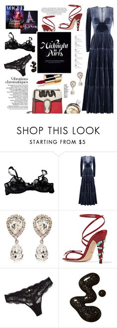 """""""Midnight In Paris"""" by chocohearts08 ❤ liked on Polyvore featuring Agent Provocateur, Rasario, Chanel, Dolce&Gabbana, Gucci and Chantelle"""