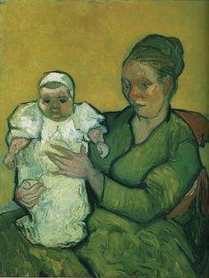 Mother Roulin with Her Baby (Arles _November-December, 1888). Oil on canvas 92.0 x 73.5 cm. Philadelphia: The Philadelphia Museum of Art