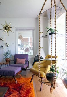 Megan & Todd's Colorful Pad in Asheville (macrame hanging glass shelves)