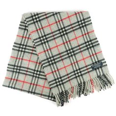 BURBERRY London Classic Scarf Wool 100% Grey Plaids Print Used F/S