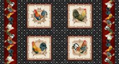 Beautiful Panel Fabric Pattern with four hand watercolored roosters and a striped border. Perfect to make pillows, quilt squares and other DIY home decor projects. In classic  colors of black, red, tan and gold by Audrey Jeanne. Available from In the Beginning Fabrics and quality quilt shops coast to coast. #quilt #quilting #quilts #home #decor #fabric #audreyjeanne #roosters #diy #tuscan #vintage #country #french #panel #pillows #kitchen #designer #rooster #theme