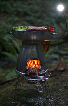 The BioLite BaseCamp converts heat into usable electricity for large-format cooking and charging. Using only fallen branches or small pieces of firewood, make wood-fired meals and charge devices all at the same time.