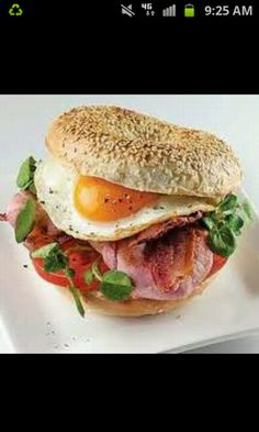 Healthy breakfast sandwich! Make an egg omelet, cook up some ham or turkey and a slice of cheese on some toasted bread with a little bit of olive oil mayo. You can also add tomato and spinach! Eat this with a cup of orange juice! Yum!