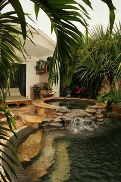 Hot tub waterfall into pool