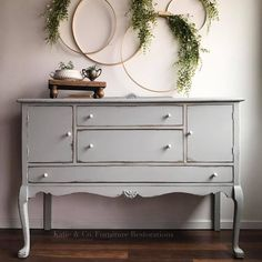 General Finishes Seagull Gray Milk Paint Queen Anne Buffet