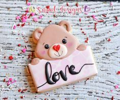 Animals – The Sweet Designs Shoppe Valentine's Day Sugar Cookies, Heart Cookies, Royal Icing Cookies, Cupcake Cookies, Cupcakes, Bear Valentines, Valentines Day Cookies, Saint Valentine, Animal Cookie Cutters