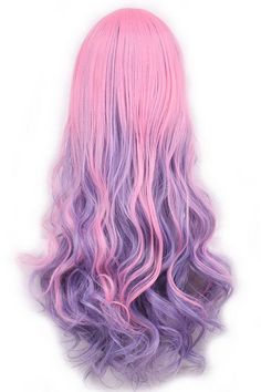Women Pink Inclined Bang Harajuku Gradient Long Wavy Anime Cosplay Wig - One Size - Women Pink Inclined Bang Harajuku Gradient Long Wavy Anime Cosplay Wig – One Size - Anime Cosplay, Cosplay Hair, Cosplay Wigs, Hair Dye Colors, Cool Hair Color, Fancy Hairstyles, Wig Hairstyles, Harajuku, Kawaii Wigs