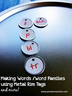 DIY:: Making Word Families using metal rim tags
