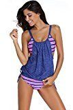 #10: Dokotoo Womens Stripes Lined Up Double Up Tankini Top Sets Swimwear