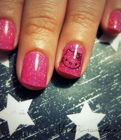 Is it sad that I would love my nails to look like this. Especially with the Hello kitty!??
