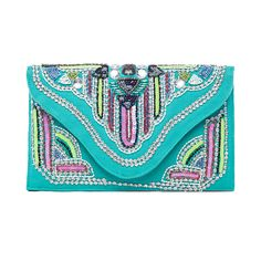 Nila Anthony Beaded Clutch Turquoise