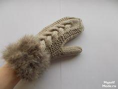 #mittens Варежки с манжетой из меха, описание