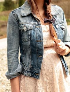 Fashion Inspiration: Lace dress, denim jacket, braid with a bow. We're seeing the lace dresses pop up everywhere.  And they're easy to dress up or down.