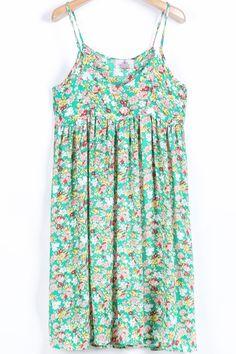 Green Spaghetti Strap Floral Pleated Dress