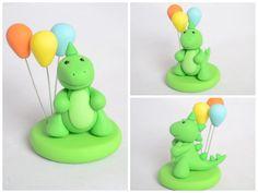 Custom Clay Dinosaur Cake Topper Polymer Clay by Linnypigs