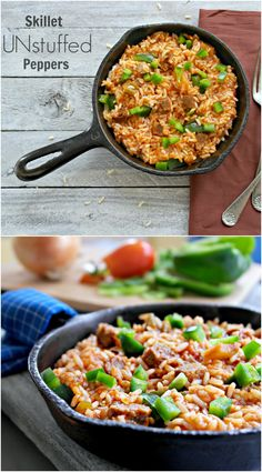 One Pan Skillet Unstuffed Peppers