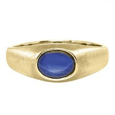 East-West Oval Cut Blue Star Sapphire Yellow Gold Pinky Ring For Men Available Exclusively at Gemologica.com