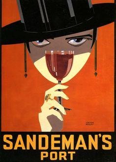 Sandeman Port by Loxton Knight Art Deco Posters Drink Vintage Prints Posters Vintage, Retro Poster, Vintage Advertising Posters, Art Deco Posters, Vintage Advertisements, Poster Prints, Advertising Design, Wine Advertising, Vintage Wine