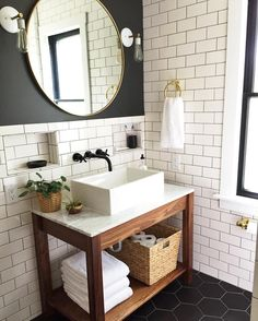 Floor To Ceiling White Subway Tile Wall Mount Faucet Open Concept Vanity Vessel Sink Exposed Plumbing Now Find A Round Mirror Like