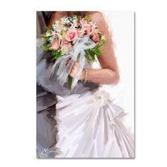 Trademark Fine Art 'Bridal Bouquet' Canvas Art by The Macneil Studio, Size: 16 x Multicolor Canvas Art, Canvas Prints, Canvas Size, Wedding Art, Baby Clothes Shops, Wedding Anniversary, Creations, Flower Girl Dresses, Fine Art