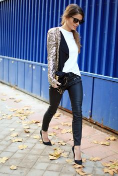 sequin jacket, white tee, leather leggings. party, holiday outfit #style