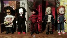 Living Dead Dolls Exclusive Horror Freddy Jason Chucky Saw Leatherface Set / Lot #Dolls