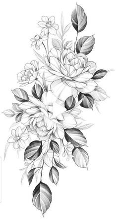 Flower Art Drawing, Flower Tattoo Drawings, Floral Drawing, Flower Tattoo Designs, Tattoo Sketches, Flower Tattoo Stencils, Butterfly Thigh Tattoo, Floral Thigh Tattoos, Feminine Tattoos