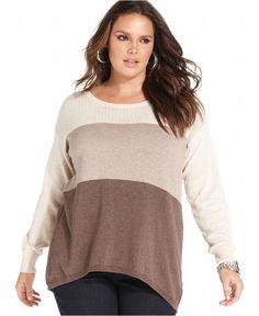 DKNY Plus Size Sweater, Long-Sleeve Draped Ribbed - Plus Size Sweaters - Plus Sizes - Macy's