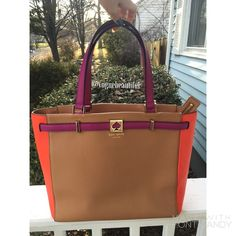 Kate Spade Houston Street DeMarco in Adobe Limited edition colors - Adobe (brown, purple, orange) • In great condition with no stains, marks, rips or tears • Gorgeous bag • Dimensions; 16 inches across, 10.5 inches tall, 7.5 inch strap drop - (not crossbody compatible) 6.5 inches across the bottom. • NO TRADES, NO PAYPAL • kate spade Bags Totes