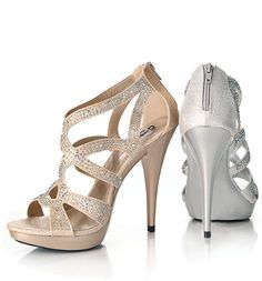 Beautiful Nude or Silver Shoes adorned with AB iridescent stones and 3.5 inch heel at Rsvp Prom and Pageant, Atlanta, GA. Perfect for Prom, Pageant or any formal event