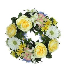 18 Decorative Yellow and Green Cabbage Rose and Daisy Flowers Artificial Spring Floral Wreath