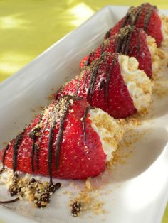 plain cheesecake bar recipe   Fresh juicy strawberries stuffed with creamy cheesecake filling ...