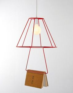 Book reading Lamp, industrial eclectic vintage, open exposed bulb lamp, red wire cage shade, book rack, lighting ideas for the house