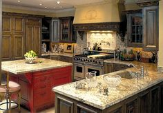 Country Kitchen Islands | then again what screams french country more than a red
