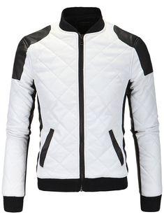 $23.20 Color bloque de empalme Argyle cremallera de algodón acolchado chaqueta de cuero de la PU-