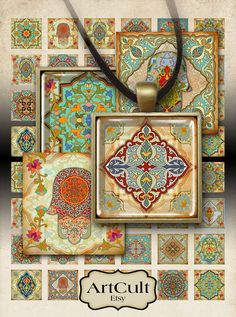 MARRAKECH - Printable Download Digital Collage Sheet 1.5 inch and 1 inch size square images for 35 mm pendant tray magnets paper scrapbook