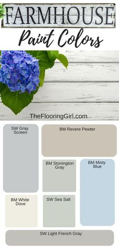Farmhouse paint colors - The best shades of paint for a modern farmhouse style. #farmhouse #paint #colors #shades #farmhousestyle #homedecor #modernfarmhouse #rusticdecor #diy #farmhousedecor #modern