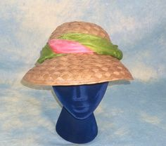 Ephemeral 1950's Ladies Vintage Summer Straw Hat from thegoldenhanger on Ruby Lane