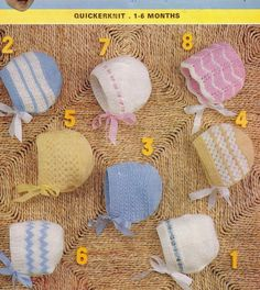 PDF Baby KNITTING Pattern for Knitted Bonnets for Babies 1 to 6 months 8 designs