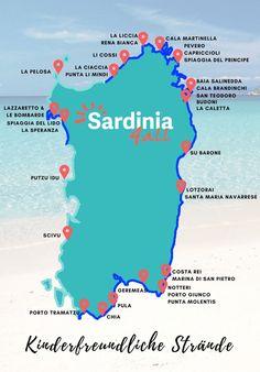 Kinderfreundliche Strände auf Sardinien. Erfahren Sie wo das Wasser schön flach ist und wo die Strömungen zu stark sind, damit der Urlaub mit Kindern unvergesslich wird. Cala, Nice To Meet, Sardinia, Strand, Beautiful Places, Road Trip, Camping, Tours, Beach