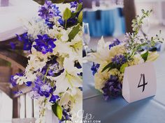Lily, orchid, hydrangea with delphium accents.  (Design by Lee Forrest Design, photo by Emily Gilbert Photography)