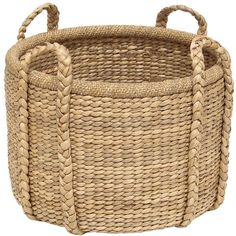 Blossom Coastal Seagrass Braid Hand Woven Basket ($691) ❤ liked on Polyvore featuring home, home decor, small item storage, woven baskets, sea grass baskets, coastal home decor, weave basket and flower stem