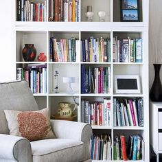 floor to ceiling shelves- practical storage and create space