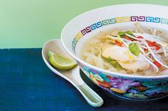 Shortcut pho with chicken recipe, Bite – A fragrant bowl of noodles with chicken and herbs ampndash sounds like a great tonic for Monday night - Eat Well (formerly Bite) Small Chicken, Canned Chicken, How To Cook Chicken, Pho Bowl, Beef Fillet, Eating At Night, Gluten Free Chicken, Vietnamese Recipes, Just Cooking