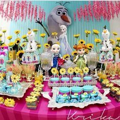 Frozen fever party table. Party food. Sunflowers.