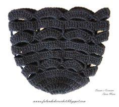 "Crochet hat ♥LCH-MRS♥ with a great diagram.----""FALANDO DE CROCHET"": GORRO DE CROCHE PRETO PONTOS ABERTOS"