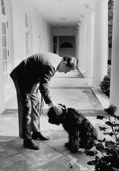 US Pres. Ronald Reagan petting his dog Lucky outside the White House. (Photo by Bill Fitzpatrick/White House/Time Life Pictures/Getty Images)
