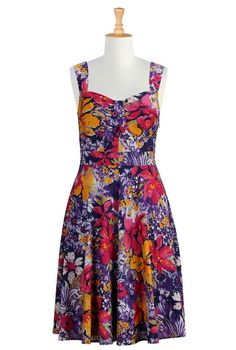 Floral print front tied dress from eShakti