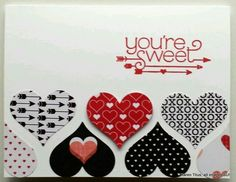 Stampin' Up! You Plus Me Valentine's card made with the Sweetheart Punch and the Stacked with Love DSP. Could use Groovy Love Valentine Love Cards, Valentine Crafts, Valentines Hearts, Valentine Theme, Kids Valentines, Paper Cards, Creative Cards, Greeting Cards Handmade, Homemade Cards